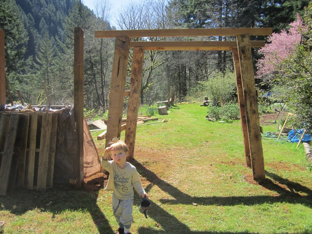 And Building A Coop Wasn't All We Were Up To! We Built This Grape Arbor!  Building A Grape Arbor Is Something That We Have Wanted To Do For Years,