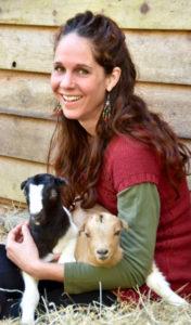 Corina Sahlin with baby goats